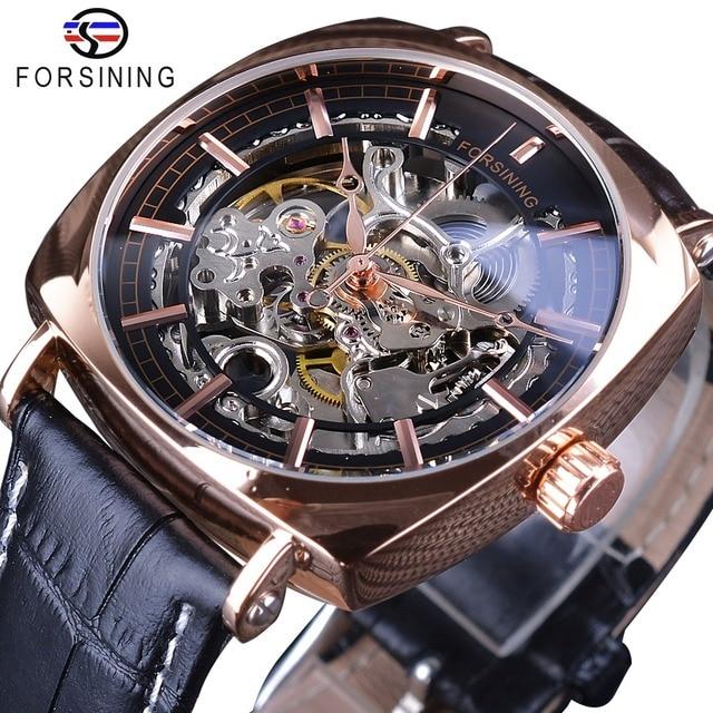 ad44446fc5a Forsining Preto Genuíno Couro Moda Real Relógio De Ouro De Luxo Homens  Esqueleto Transparente Mecânico Automático