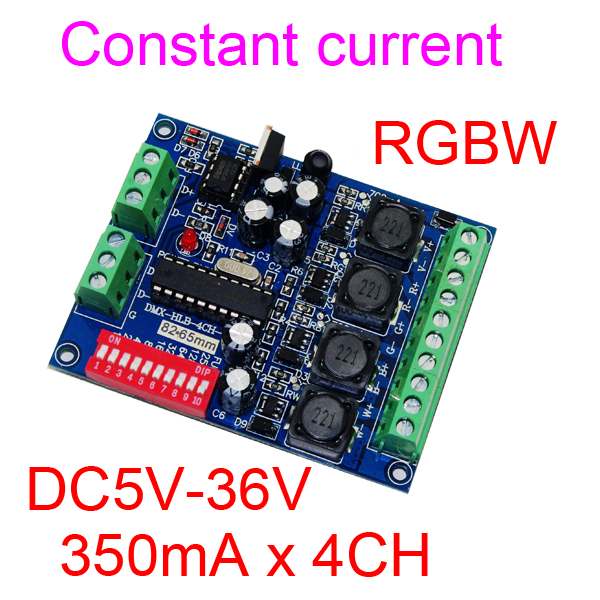 4 kanálový 350MA DMX512 RGBW regulátor 4CH DMX512 dekodér DC5-36V vstup na každý kanál 350MA