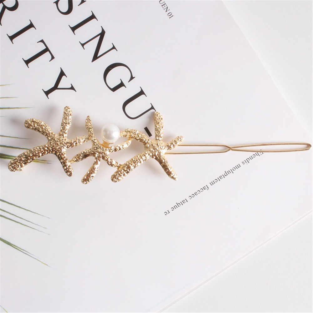 1PC Moda Estrelas Do Mar de Metal Grampo de Cabelo Pérola Grampos de cabelo Mulheres Meninas Jóias Pino de Cabelo Barrette Acessórios Para o Cabelo Touca