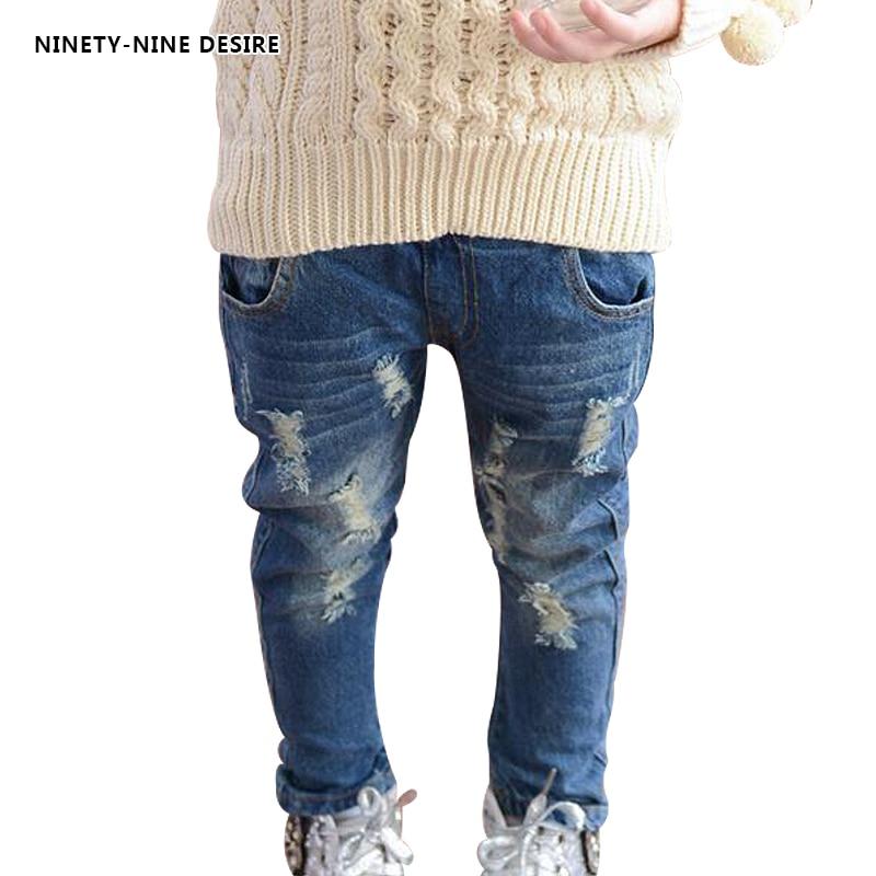 2017 Girls jeans pants spring Autumn children's clothing jeans blue trousers casual pants Baby Children Pants jeans child denim
