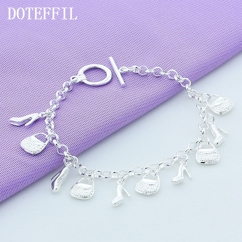 Gratis frakt Wholesale Silver 925 Fashion Women smykker Cross Star 12 anheng Charm Plated Sølv Armbånd Bangles
