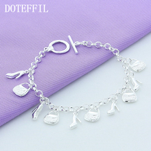 Free Shipping Wholesale Silver 925 Fashion Women Jewelry Cross Star 12 Pendant Charm Plated Silver Bracelets Bangles