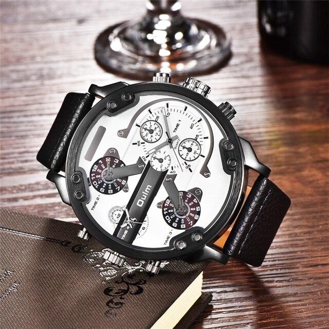 Oulm Merk Super Grote mannen Wijzerplaat Horloges Dual Time Zone Horloge Casual PU Leer Luxe Merk Mannen Quartz Horloge