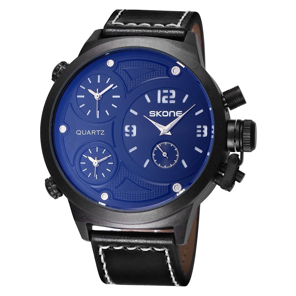 ФОТО SKONE 2017 New Watch Men Big Dail Leather Quartz-watch Men Clock Fashion Casual Sports Military Wrist Watch erkek kol saati