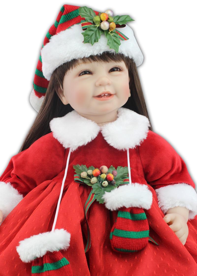 Vente chaude NPK 22 pouces Bebe reborn bébé poupée réaliste coton corps Silicone Lol cheveux longs fille poupées rouge enfants cadeau de noël