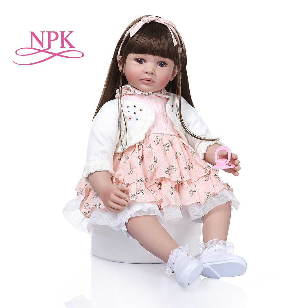 60cm Big Size Reborn Toddler Doll Toy Lifelike Vinyl Princess Baby With Soft Cloth Body Alive Bebe Girl Birthday Gift