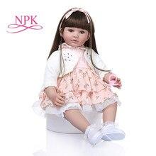 60cm de tamaño grande muñeco de bebé Reborn juguete realista de princesa bebé con tela suave cuerpo vivo Bebe niña regalo de cumpleaños