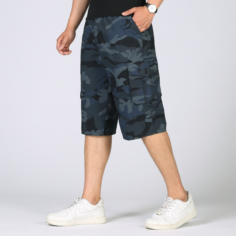 Plus-Size Capri Bermuda Blue Camo Cargo Camouflage Short Military-Style Army-Green Cotton