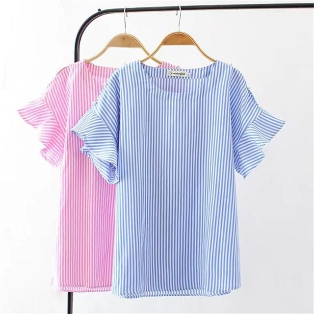 f25ec4bc075 Plus size pink   light blue striped pearl women T-shirt 2018 fashion cotton  summer t shirt flare sleeve O-Neck ladies tee shirt