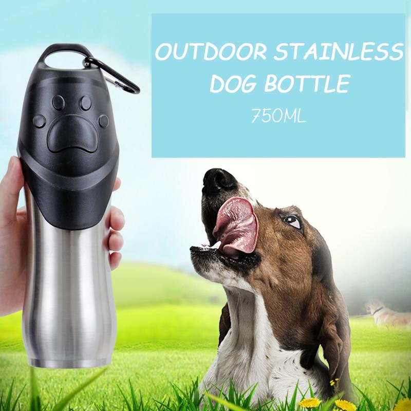 Pet-Bottle Dog-Bowl-Dispenser Stainless-Steel Portable Cat Travel Outdoors 750-Ml Safety