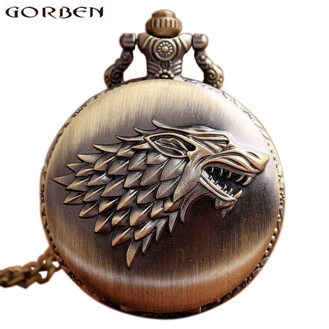 Retro Bronze Game Of Thrones Stark House Wolf Pocket Watch Necklace Quartz Fob A