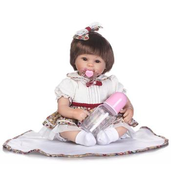 NPK cute reborn babies girl dolls soft silicone reborn dolls for children gift 40cm rooted hair with pacifier bottle bonecas