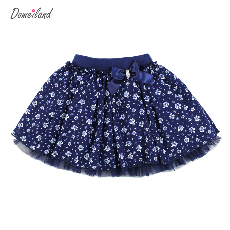 2017 Fashion domeiland Summer clothing Children Girl Cute baby kid print floral Tutu cotton Skirts Chiffon Bow lace princess