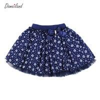 2016 Fashion Summer Clothing Children Gir Cute Baby Kids Print Floral Navy Tutu Cotton Skirts Chiffon