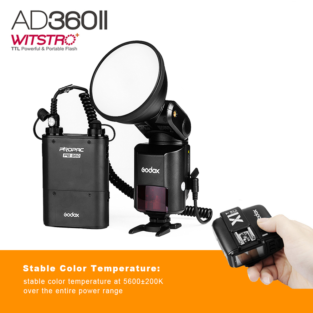 Godox Witstro AD360 II AD360II-C TTL On/Off-Camera Flash Speedlite + PB960 Battery Pack for Canon + Godox X1T-C Wireless Trigger godox v860iic v860iin v860iis x1t c x1t n x1t s hss 1 8000s gn60 ttl flash speedlite 2 4g transmission godox softbox filter
