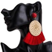 Rattan Earrings for Women Handmade Straw Wicker Braid Red Dangle tassel Lightweight Geometric Statement