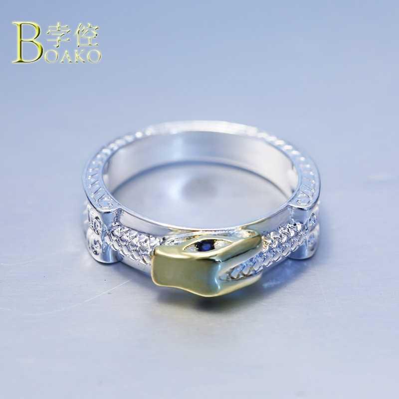 BOAKO Intagliato Anelli Per Le Donne oro dell'annata della perla anello di uomini di pietra punk etnico dichiarazione anelli del serpente delle donne del regalo del partito gioielli B5