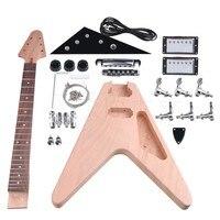 Yibuy Maple DIY Elektrik Gitar Tuning Kazıklar ile Vücut Boyun Kapalı Pikap 2T2V Topuzlar Anahtarı Bitmemiş Suit Aksesuarları