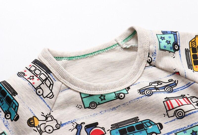 SAILEROAD 2pcs Sweatshirt for Kids Cartoon Vehicle Car Warm Sweatshirt for Children Long Sleeve T Shirts Autumn Boys Clothes 4Yr 5