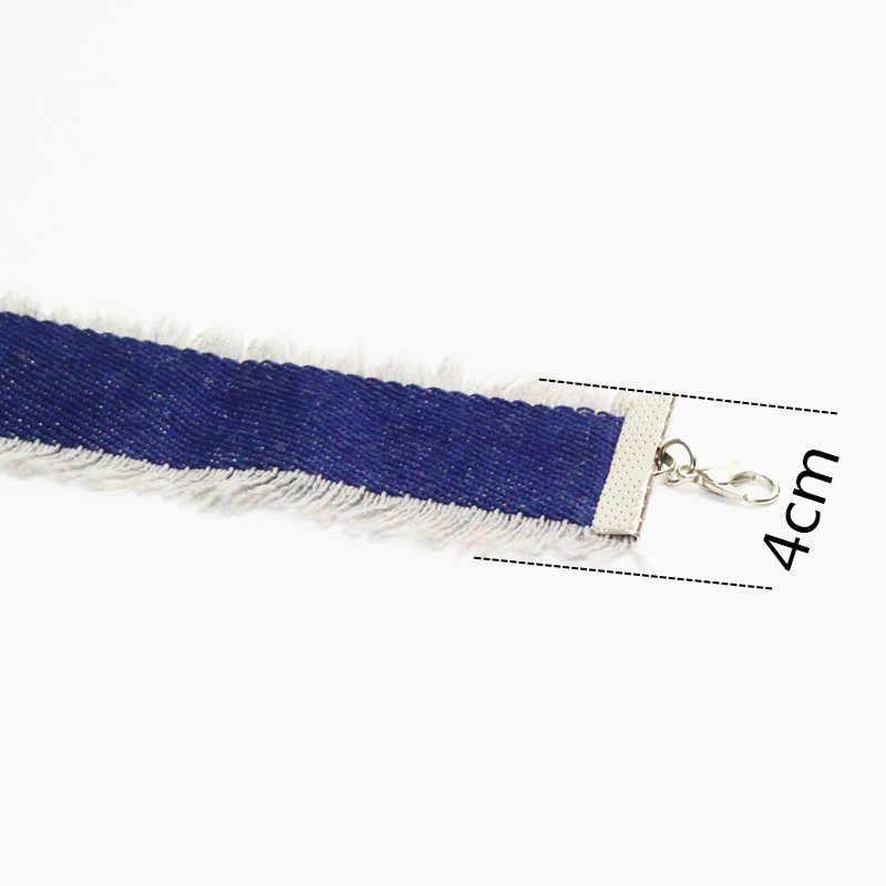 ใหม่สีน้ำเงิน Denim Choker สร้อยคอผู้หญิงพู่กางเกงยีนส์ Chokers Chocker สัก choker Collier ras de cou colar bijoux femme x196