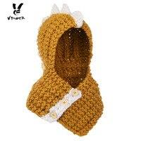 Vbiger בימס כובע סרוג ילדים בחורף חם מכירה של חפצי אמנות בעלי החיים Cartoon שווי קפוצ 'ון הוד צעיף לנערות