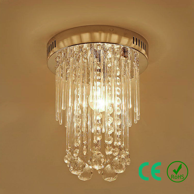 Chandelier light LED D20 k9 Crystal Stainless steel base Small Round Lamp Bedroom Foyer Restaurant Hotel Rosh CE Custom Designed led crystal chandelier lamp can be customized stainless steel restaurant