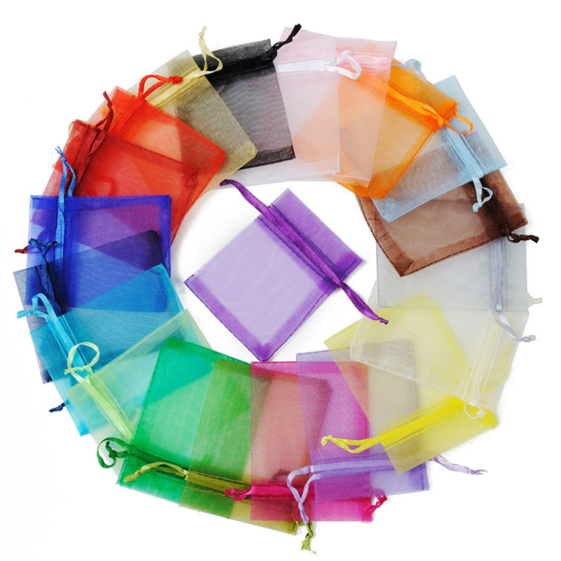 500pcs lot 10x15cm Organza Gift Packaging Bags Christmas Wedding Gifts Packing Pouches Mixed Color Jewelry Organza