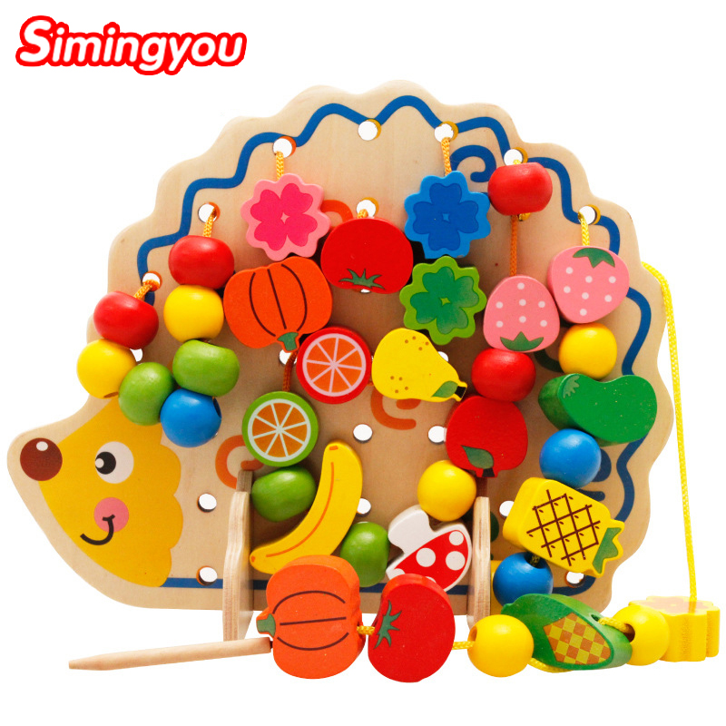 Simingyou Learning Education Wooden Toys 82 Pcs Hedgehog Fruit Beads Montessori Oyuncak Educational Toy For Children MZ0501051 montessori educational wooden toys trinomial cube magic toys for children kids toys math learning creative oyuncak