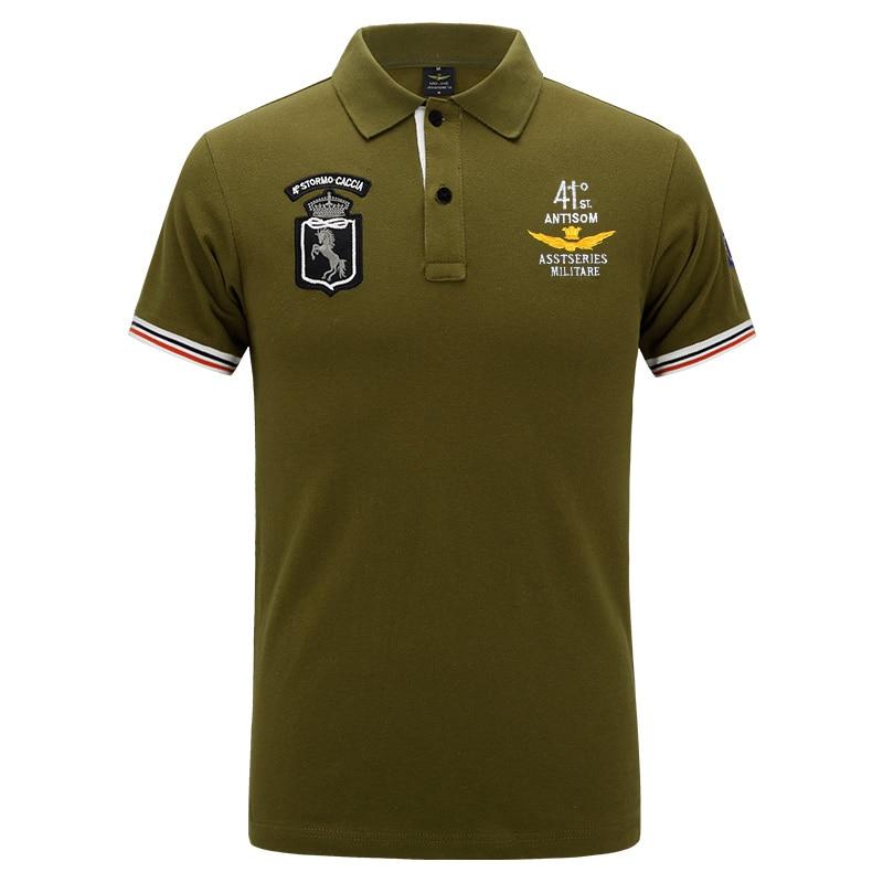 2018 Neue Hohe Qualität Camisas Masculinas Polo Baumwolle Einzelhandel Asstseries Militare Männer Poloshirt Air Force One Bestickt