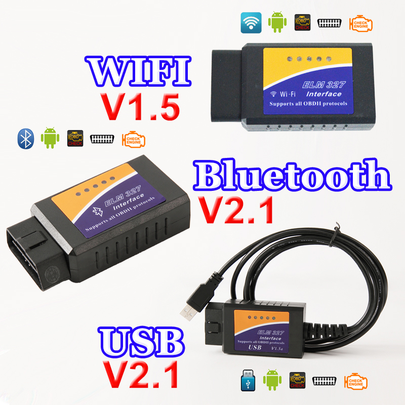 USB Bluetooth WIFI ELM327 OBD2 / OBDII ELM 327 V1.5 / V2.1 for Android IOS Auto Diagnostic Scanner Tool dewtreetali wifi elm 327 obd2 car diagnostic tool obdii scanner interface for android