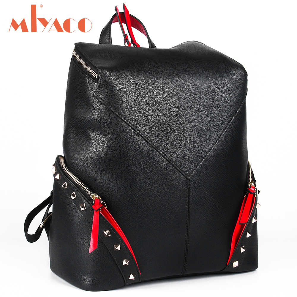 MIYACO Genuine Leather Backpack Female Black Fashion Backpacks Rivet Girls School Bags Travel Bag mochila feminina цена