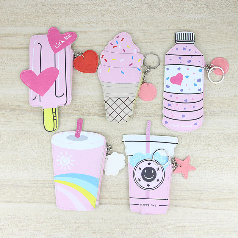 PACGOTH Lolita Style Kawaii PU Leather Coin Purse Square Cute Bottle Drink Ice Cream Pattern Coin Money Wallets & Holders 1 PC(China)
