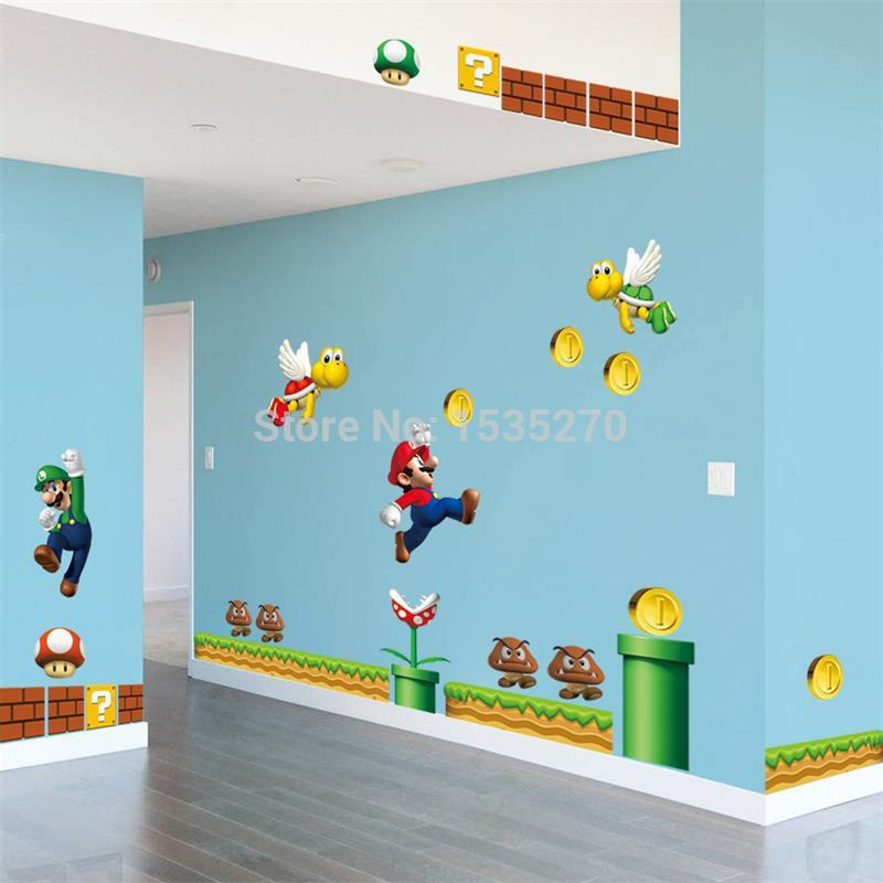 On sale new super mario bros pvc removable wall sticker for Home decor items on sale