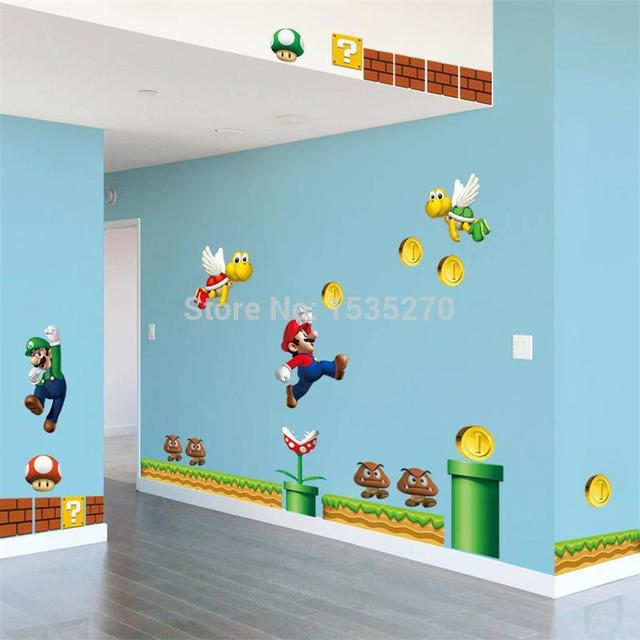On New Super Mario Bros Pvc Removable Wall Sticker Decal Boy Kids Room Home Decor