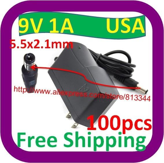 100 Stks Gratis Verzending 100 V-240 V Ac Naar Dc Charger Vs Plug 9 V 1a Switch Power Supply Adapter Usa 5.5 Mm * 2.5 Mm Gediversifieerd In Verpakkingen