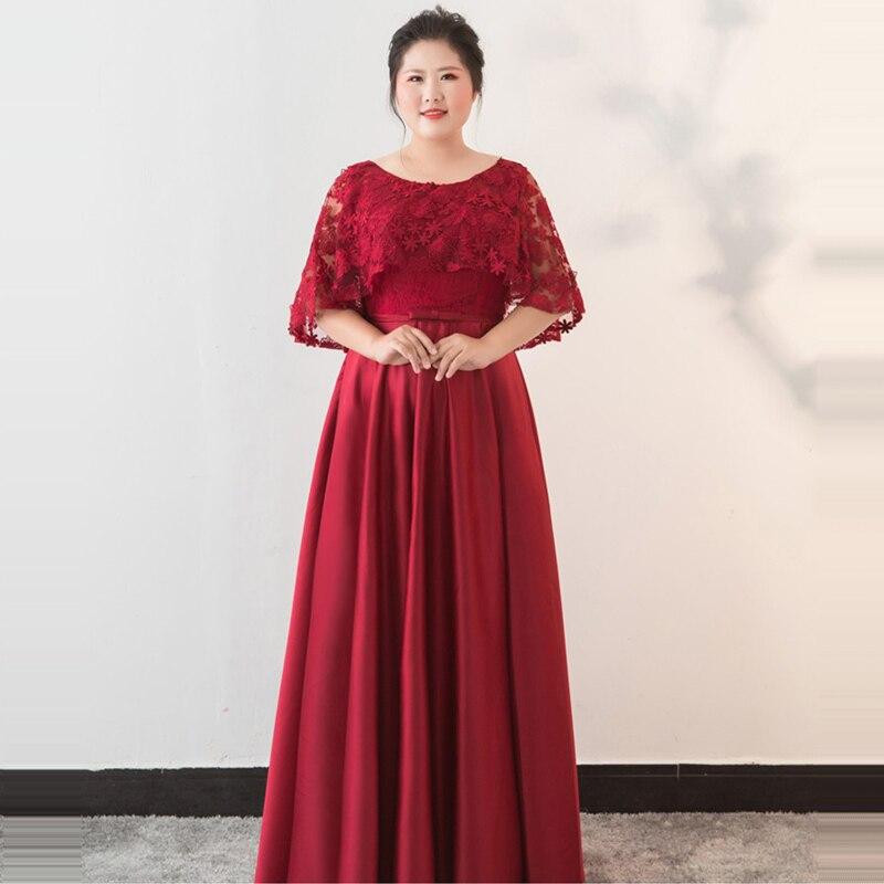 Wine 2018 A Partie Plus Size Soirée Robe Demi Dentelle Étage ligne Red Yiiya Il O Manches Designer Longueur Dm061 cou Filles De Fashion O0PX8nkNw