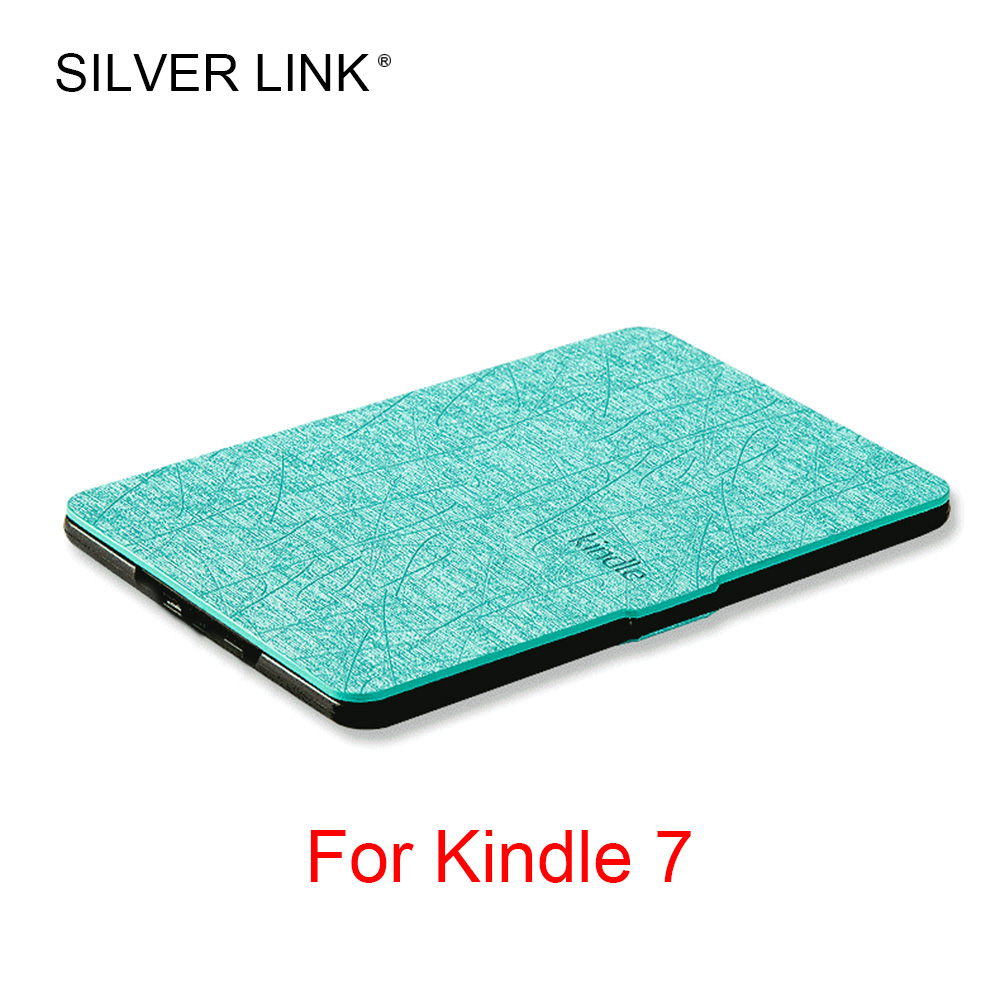 SILVER LINK 1X Kindle 7 PU Case Faux Leather Smart Cover For Kindle EBook Skin Multicolor Auto Sleep/Wakeup Hard Protector Shell lichee pattern protective pu leather case stand w auto sleep cover for google nexus 7 ii white