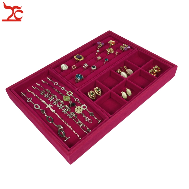 New 4Pcs Rose Red Velvet Jewelry Display Tray Ring Earring Holder