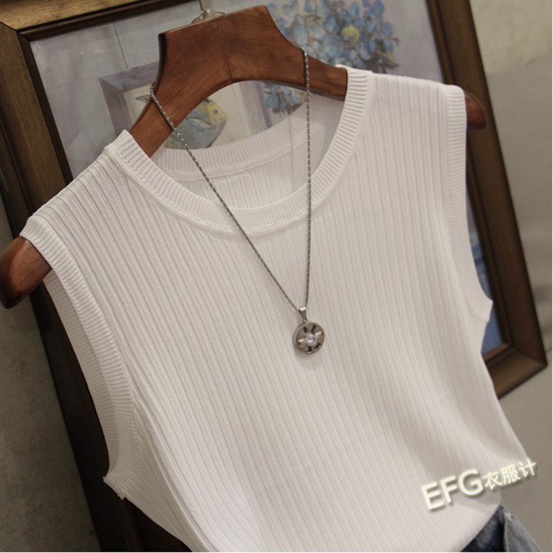 Knitted Vests Women Top O-neck Solid Tank Fashion Female Sleeveless Casual Thin Tops 2020 Summer Knit Woman Shirt Gilet Femme 2