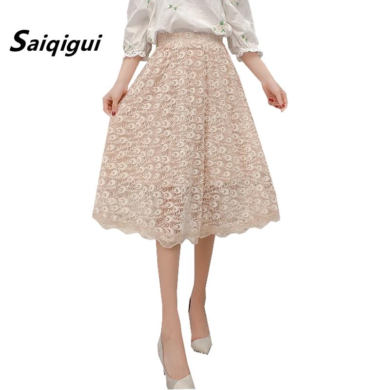 Saiqigui 2018 New Fashion Faldas Summer Vintage Skirt High Waist big hem Pleated Skirts Womens Lace A-Line Skirts Femme Saias