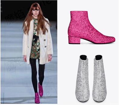 Fashion bling bling ankle boots women low heeled winter short boots casual boots paillette boots boots bagatt boots