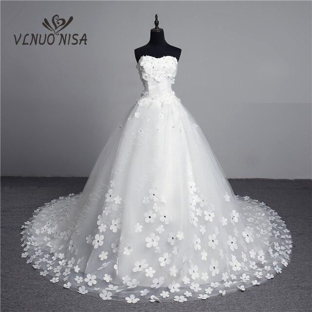 Luksusowy kryształ perły 3D kwiat 2020 koronka w stylu vintage suknia ślubna duży pociąg Plus rozmiar suknia szata de Mariee Vestido De Noiva