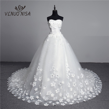 Luxo pérolas de cristal 3d flor 2020 laço do vintage vestido de casamento grande trem plus size vestido de baile robe de mariee vestido de noiva