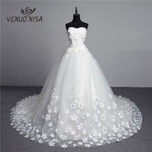 Luxury Crystal Pearls 3D Flower 2020 Vintage Lace Wedding Dress Big Train Plus Size Ball Gown Robe de Mariee Vestido De Noiva
