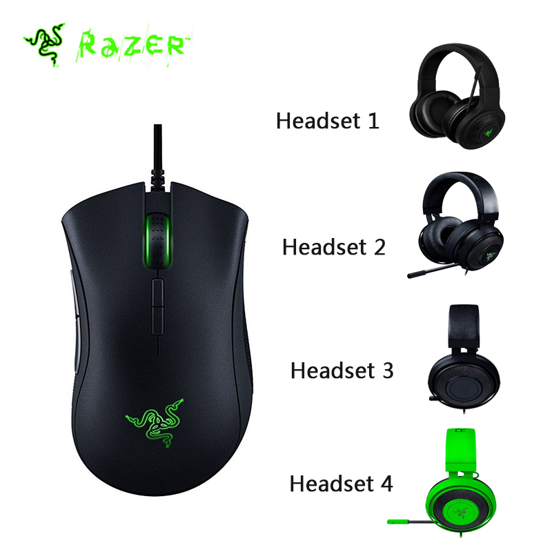 Original Razer DeathAdder Elite Wired Gaming Mouse 16000DPI Optical Sensor Ergonomic + 4 Kinds Headset Available