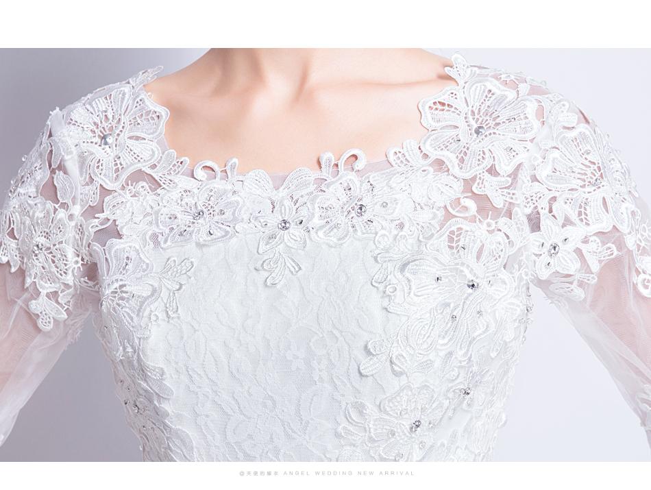 Angel Wedding Dress Marriage Bride Bridal Gown Vestido De Noiva 2017 Boat Neck horn sleeve, big tail 6910 17
