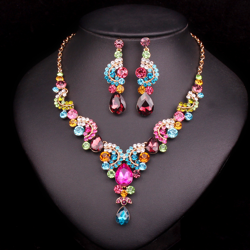 Fashion Rhinestone Bridal Jewelry Sets Prom Party Costume Accessories Wedding Necklace Earring Set For Brides Trinket