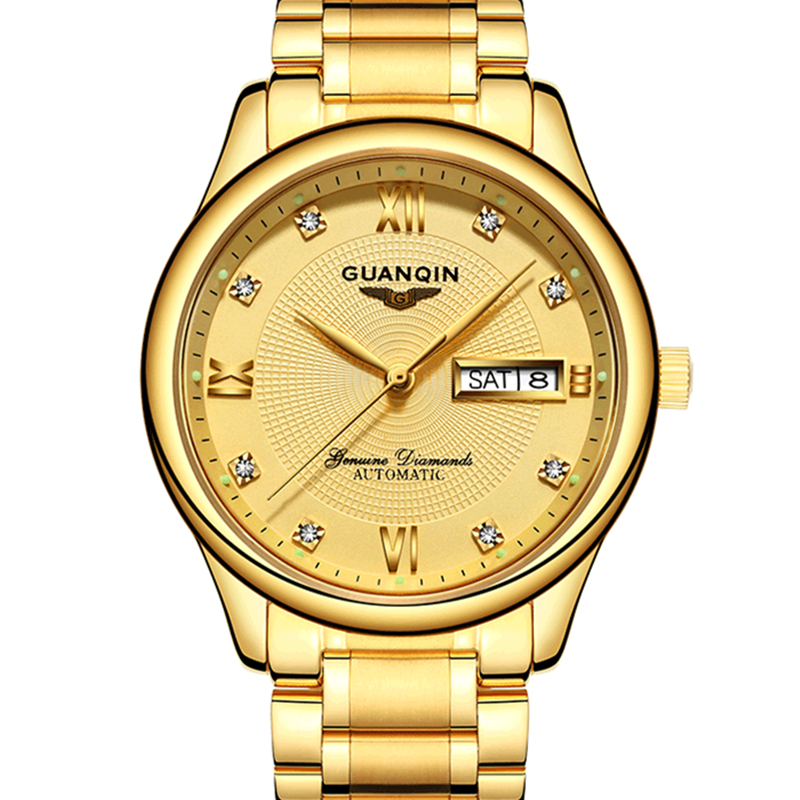 GUANQIN Luxury Men Gold Business Watch New Fashion Multifunctional Casual Clock Hour Male Full Steel Mechanical Wristwatch mike davis knight s microsoft business intelligence 24 hour trainer