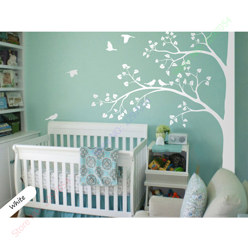 2017 new white tree wall wall decal corner tree wall for Baby nursery mural