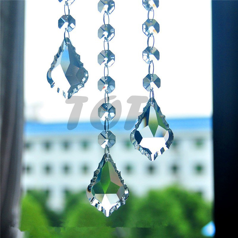 15pcs 38mm French Cut Maple Leaf Pendant Glass Crystal Prisms For Chandeliers